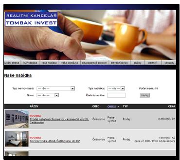Stránky realitní společnosti TOMBAK INVEST s.r.o.